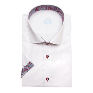 Mens White Italian Style Short Sleeved Paisley Shirt