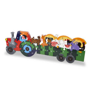 Handmade Tractor And Trailor Puzzle - educational toys