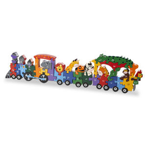 Handmade Wooden Animal Train Puzzle - puzzles