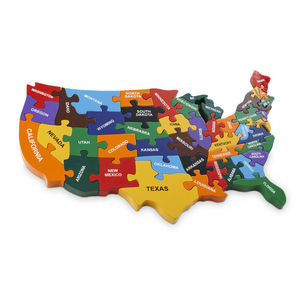 Handmade Wooden Map Of USA Puzzle