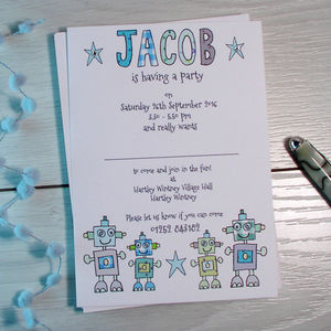 Personalised Childrens Robot Party Invitations