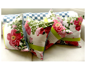 Vintage 1950's Floral Cushions - cushions