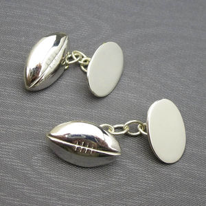 Rugby Ball Cufflinks Solid Silver - personalised