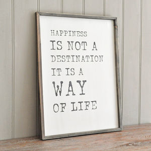 'Happiness Is Not A Destination' Framed Wall Art - mixed media & collage