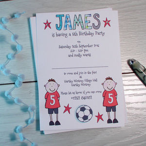 Personalised Childrens Footballer Party Invitations