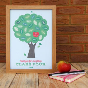 Personalised Teacher Class Apple Tree Print - posters & prints