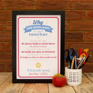Personalised Great Teacher Thank You Print