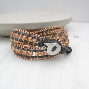Copper Leather Wrap Bracelet