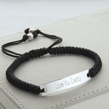 Personalised Silver And Cord ID Bracelet