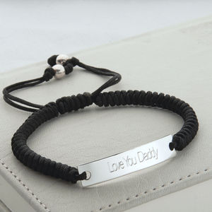 Personalised Silver And Cord ID Bracelet - bracelets