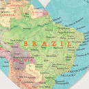 Brazil Map Heart Location Print