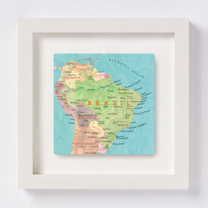 Brazil Map Square Print - art & pictures