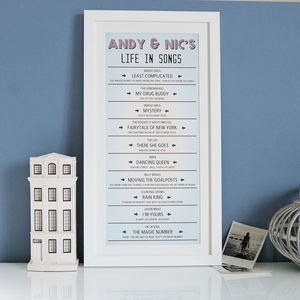 Personalised Life In Songs Print - our songs