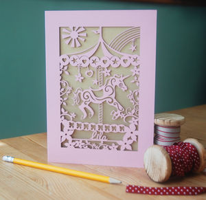 Personalised Papercut Merry Go Round Card