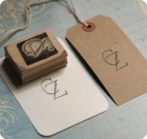 Monogram Rubber Stamp - wedding stationery