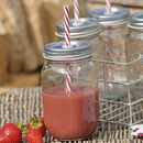 Jam Jar Glass With Stripy Straw