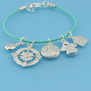 Pewter And Leather Travellers Charm Bracelet - women's jewellery
