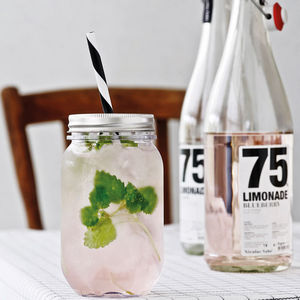 Plastic Jam Jar Glass With Straw - tableware