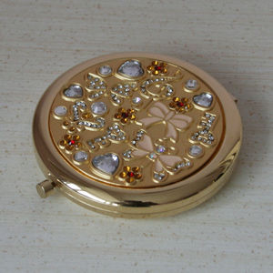 Engraved Gold Compact Mirror Celebrate Style