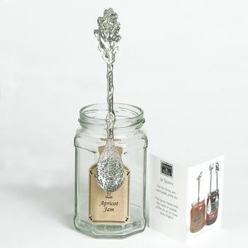 Pewter Oak Leaf Jam Jar Spoon