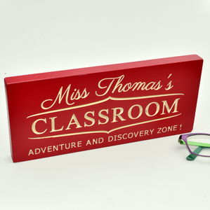 Personalised Engraved Sign For Teacher - mixed media & collage