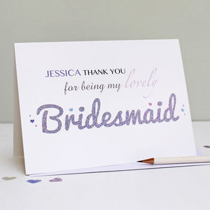Personalised Bridesmaid Thank You Card - wedding stationery
