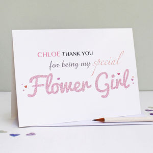 Personalised Flower Girl Thank You Card - thank you cards