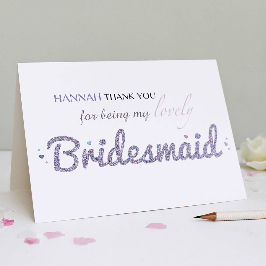Personalised Bridesmaid Thank You Card By Martha Brook