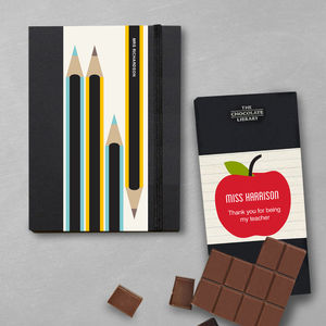 Thank You Teacher Notebook And Chocolate Gift Set - chocolates & confectionery
