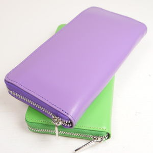 Candy Coloured Leather Long Zip Wallet