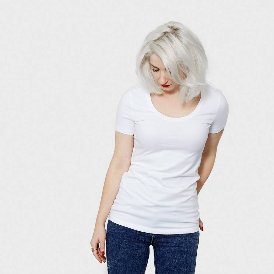 White t shirt for womens - White Women S Fitted Organic Cotton Scoop Neck T Shirt