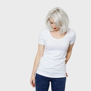 Women's Fitted Organic Cotton Scoop T Shirt - summer clothing