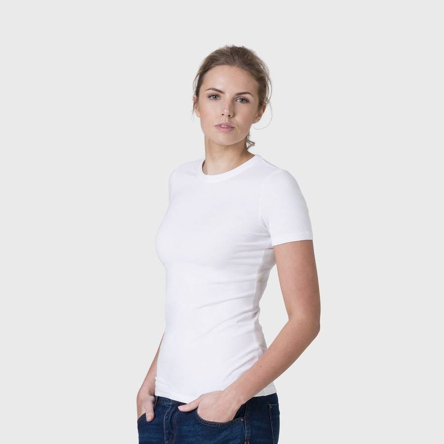 White t shirt for womens - White Women S Fitted Organic Cotton Round Neck T Shirt