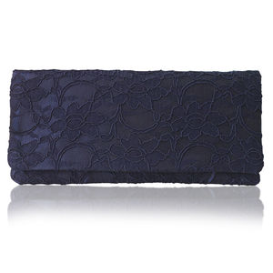 Astrid Navy Lace Simple Clutch - evening bags