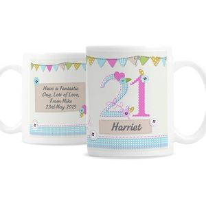 Personalised Bunting And Buttons Birthday Age Mug - crockery & chinaware