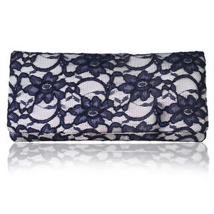 Astrid Ivory And Navy Lace Clutch - evening bags