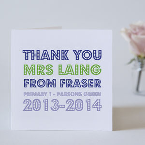 Personalised Teacher Thank You Card - gifts for teachers