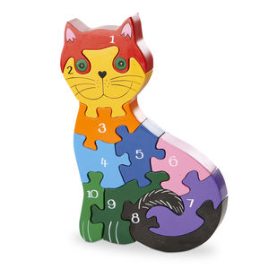 Handmade Wooden Number Cat Puzzle - educational toys