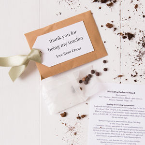 Personalised Seed Packet Thank You Teacher Gift - gardening