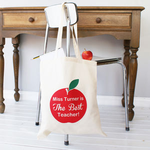 Personalised Apple Teacher Tote Bag - shopper bags