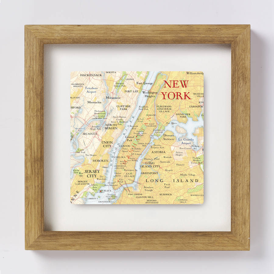 New York City Map Location Square Print