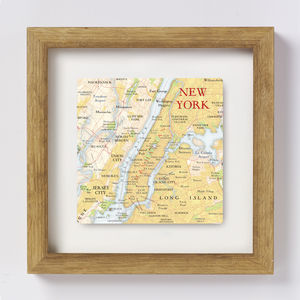 New York City Map Location Square Print - mixed media & collage