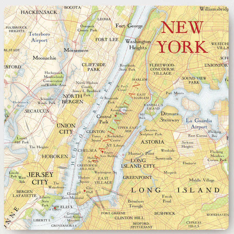 New york city map location square print by bombus for New york new york on the town