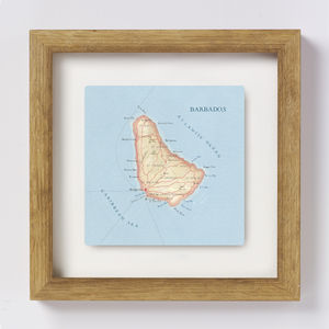Barbados Map Location Square Print - contemporary art