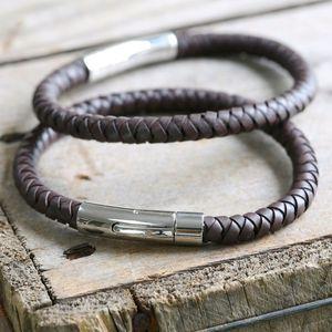 Men's Leather Bracelet In Brown - men's jewellery