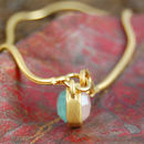 Aqua And Pink Chalcedony Gold Vintage Charm Bracelet