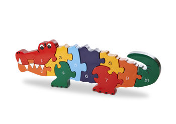 Handmade Wooden Number Crocodile Puzzle