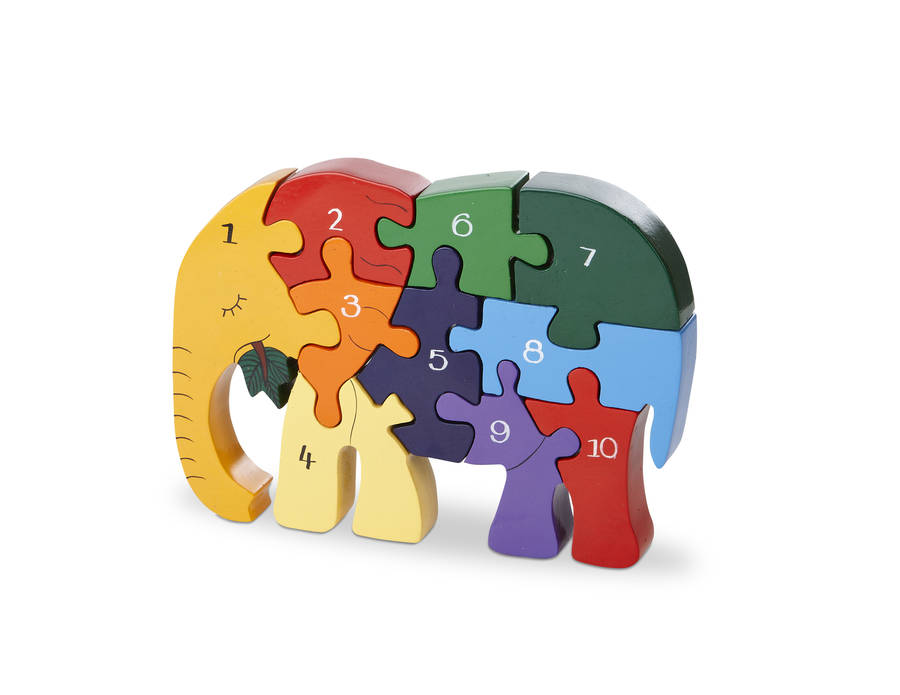 Handmade Wooden Number Elephant Puzzle By Wood Like To