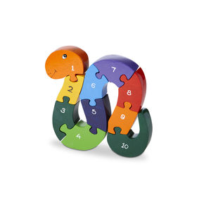 Handmade Wooden Number Snake Puzzle - toys & games