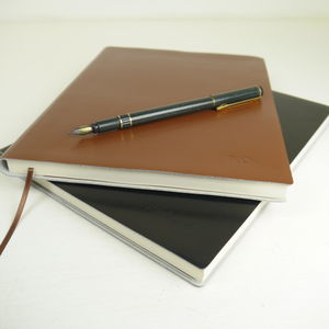 Personalised Leather Journal Notebook In Ten Colours - top of the class - teachers' gifts